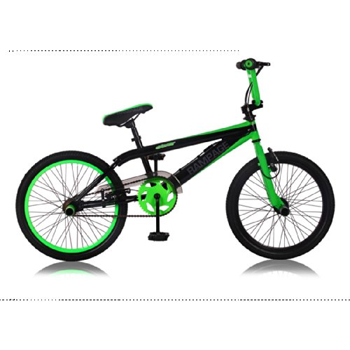 bmx freestyle rampage noir vert 20 pouces 2015 ride and slide. Black Bedroom Furniture Sets. Home Design Ideas