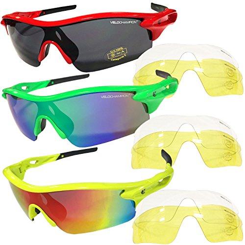 Velochampion lunettes de soleil warp velochampion pour la course ou le v lo avec 3 paires de - Velo ou tapis de course pour maigrir ...