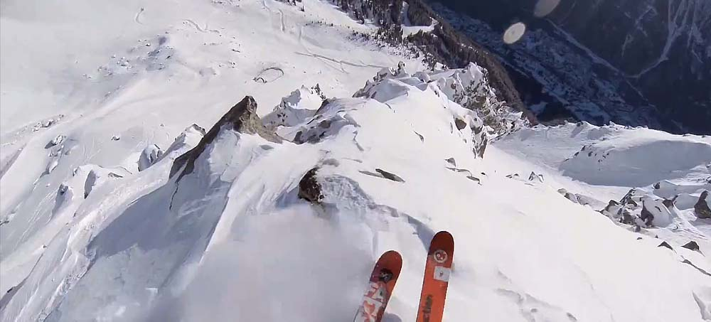 Mickael Bimboes Rocky Cliff Huck In The French Alps Freeride World Tour