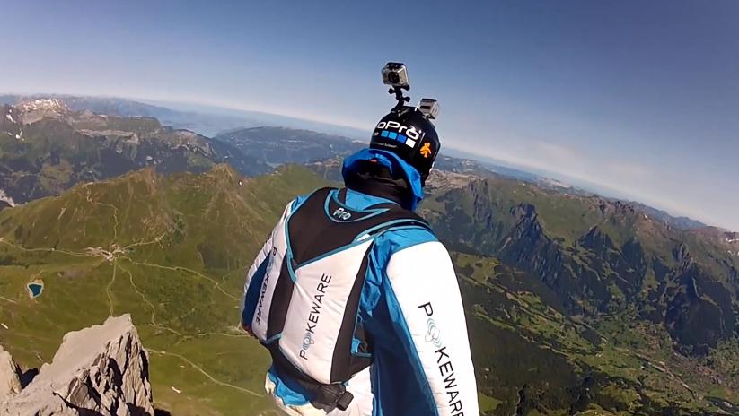 Matthias Giraud saute du Eiger