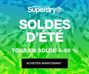 SuperDry soldes -50% nouvelle saison surf t-shirt lunettes soldes été petits prix