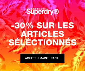 SuperDry soldes 30% nouvelle saison surf t-shirt lunettes soldes été petits prix