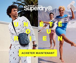 SuperDry nouvelle saison surf t-shirt lunettes soldes été petits prix