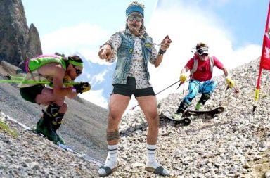 Enak Gavaggio, Mathieu Navillod et Cédric Pugin font du ski sur les cailloux