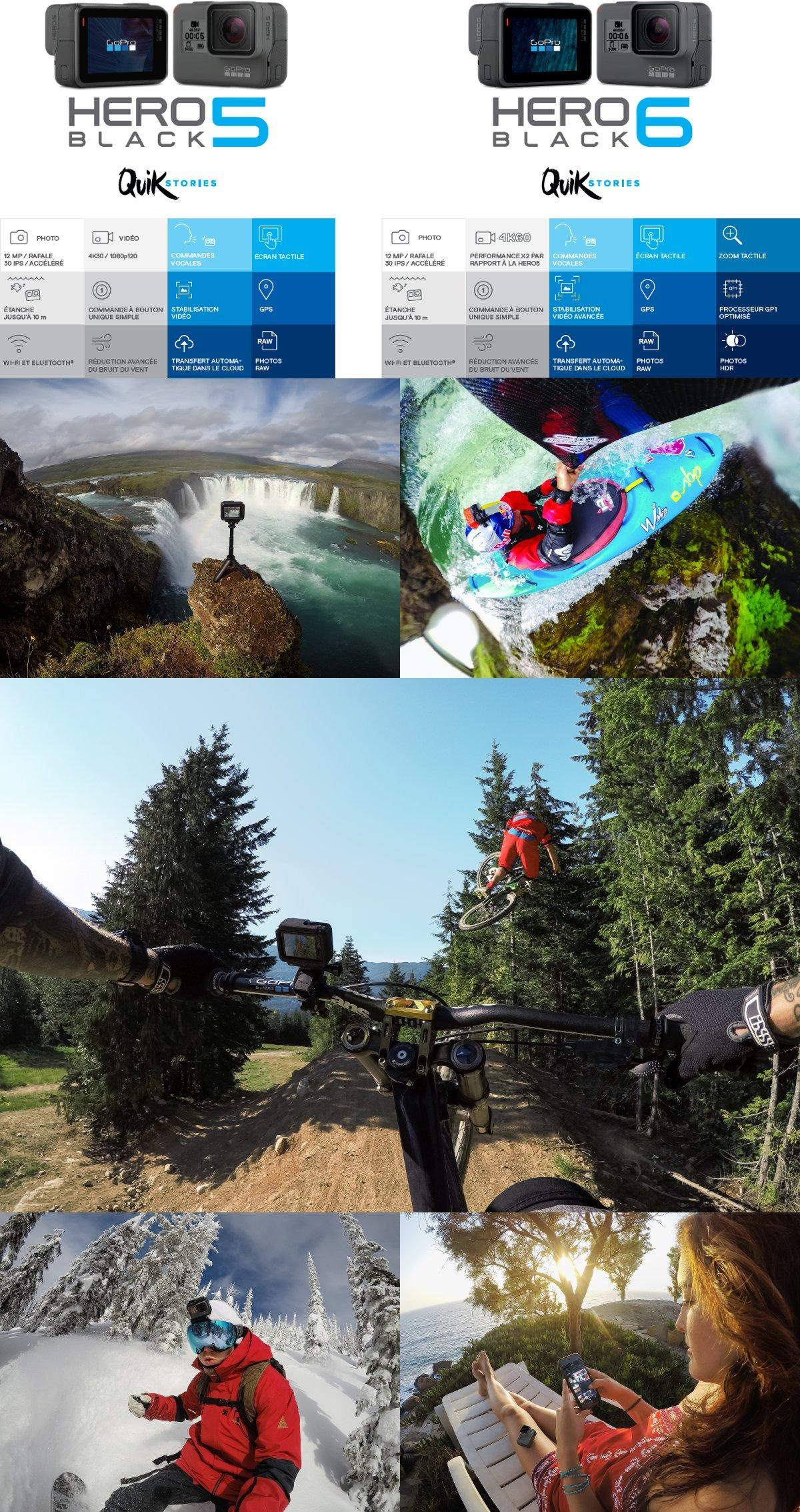 nouvelle gopro hero6 black quikstories comparatif hero5 black