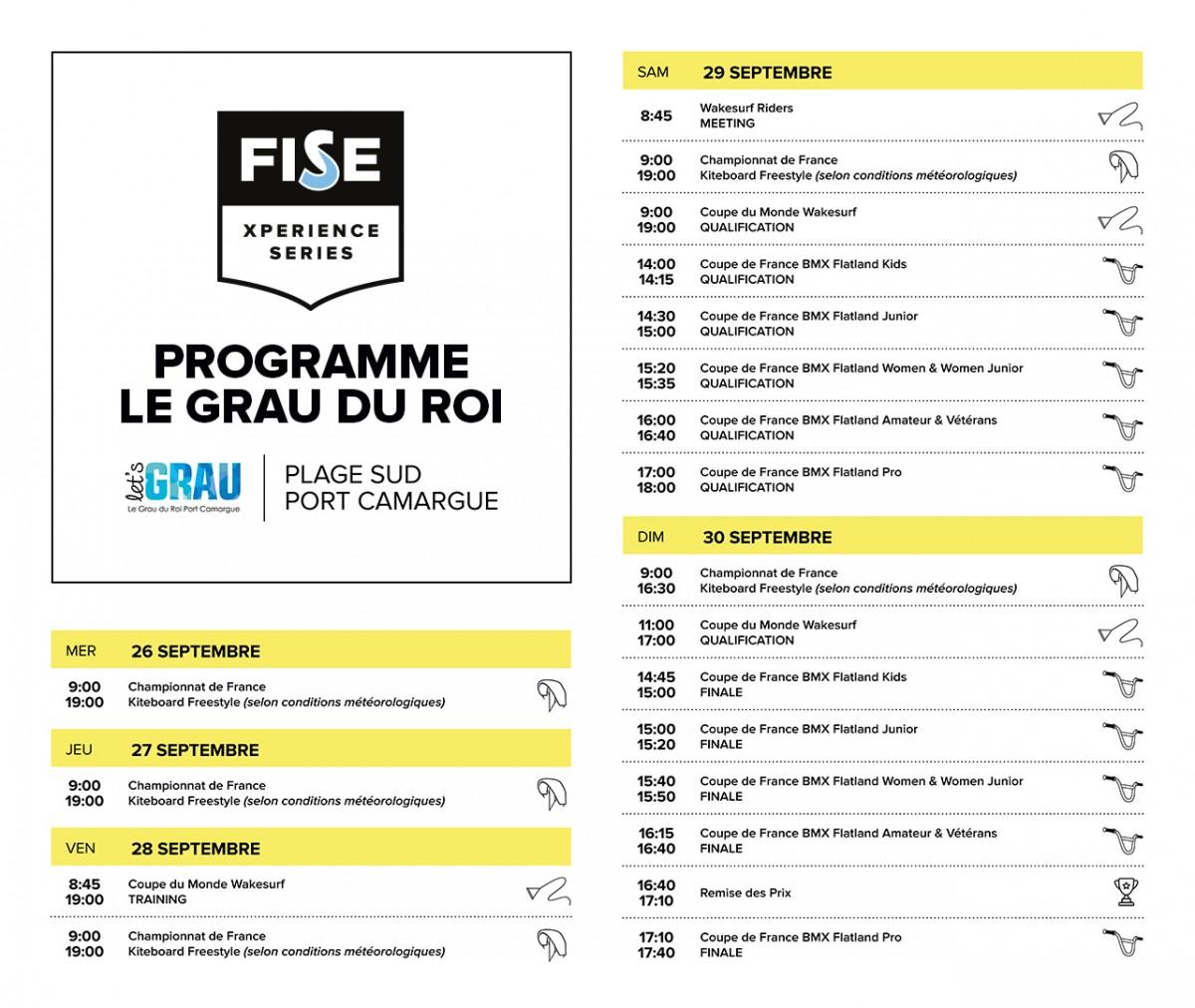 Programme du FISE Xperience Grau du Roi 2018