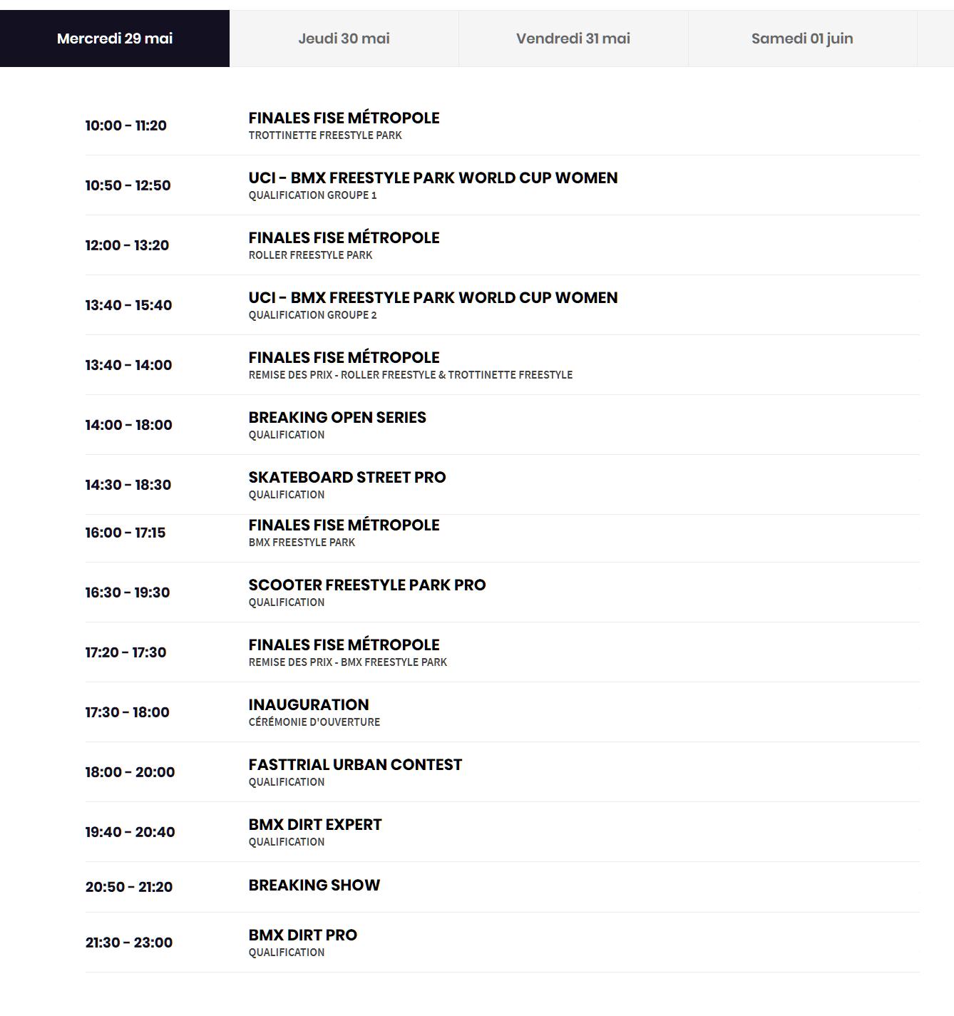 Programme FISE Montpellier mercredi 29 mai 2019