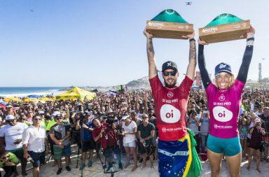 Le Brésilien Filipe Toledo et l'Australienne Sally Fitzgibbons ont remporté le Rio Pro, 5e étape du circuit WSL.